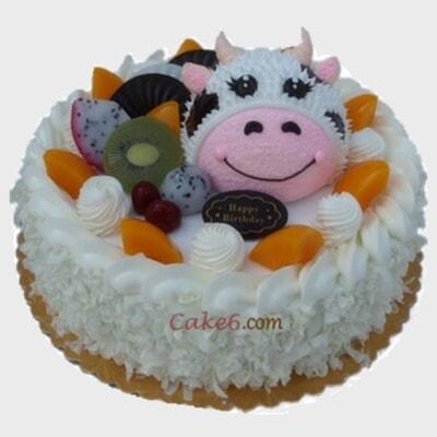 可爱小牛,精美蛋糕,蛋糕,默认, 淄博卡特鲜花